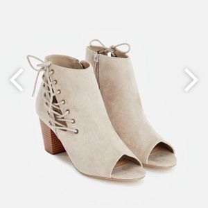 Shoes - Peep Toe Lace Up Booties W1